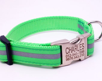 Personalized Dog Collar Nylon Safety Reflective Ribbon One Inch Adjustable Engraved Metal Buckle Side Release Girl Dog Collar Boy Collar