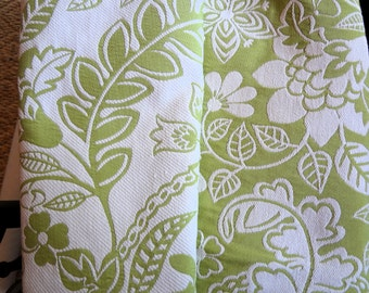 """Lime Floral Fabric,58"""" wide,Two sided print,Limited Supply- Medium Weight Upholstery,Cushion Covers,Pillows,Bags.You Pay Shipping."""