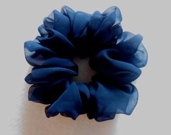 Scrunchies Ponytail Holder (Free Shipping) Hair Accessories Scrunchy Solid Dark Navy Blue