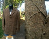 Pendleton Tweed Western Sport Coat - Jacket Blazer - Vintage - Men 42 - Brown Deadstock 1960s