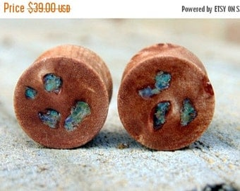 Fall Sale 12.5mm Maple burl with Opal inlay ear plugs, Hand crafted Half inch flesh plugs