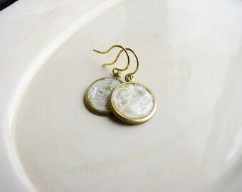 White Mica Earrings, Mica Earrings, Faux Stone, Geology Earrings, Minimalist Boho Jewelry, Resin Jewelry