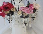 Crystal Chandelier Cup Floral Shabby Vintage Ornament Decor