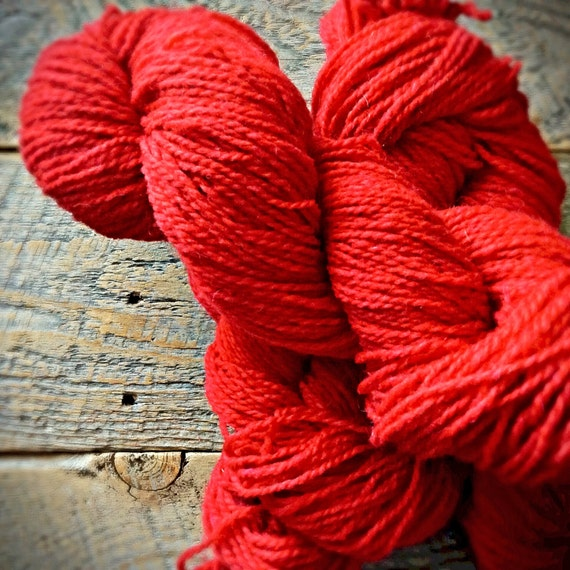 Red yarn - Peace Fleece - worsted weight wool - for felting knitting or crocheting - Ukrainian Red - yarn shop