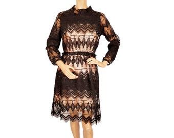 Vintage 1970s Black Lace Dress - Sheer - M