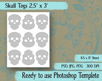 """Digital Template: """"Halloween Skulls"""" DIY Halloween crafts, tags, download, scrapbooking"""