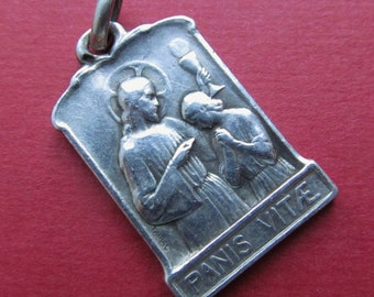 Saint John And Jesus Antique Religious Medal French Silver Communion Catholic Pendant Signed Tairac  SS-444