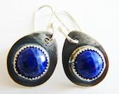 Lapis lazuli earrings silver - silver drop earrings - short blue earrings - artisan crafted - royal blue earrings