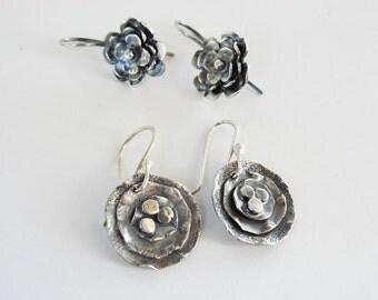 On Sale  20% off - Sterling silver flower earrings -  short silver earrings  - metalwork - small flower earrings  - lightweight - artisan