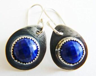 RESERVED - Lapis lazuli earrings silver - silver drop earrings - short blue earrings - artisan crafted - royal blue earrings