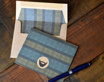 Men's Gift of Boxed Notes for Father's Day - Glen Plaid Pattern Set of 8 with icons of dogs, tools, beard, ties, guitar, headphones