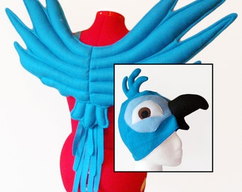 Parrot Wings & Hat. Boy Blue Macaw Costume.