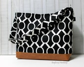 READY TO SHIP - Black Sydney Circles with Faux Leather - Messenger Tote Bag /  Diaper Tote /  Medium Bag /