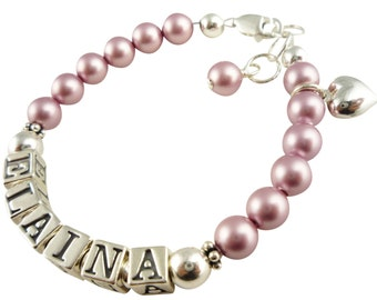 Powder Rose Pink Swarovski Pearl Bracelet for Girls Baby with name and Heart Charm