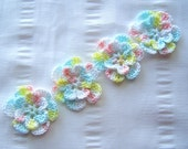 Appliques hand crocheted flowers set of 4 day at the beach cotton 1.5 inch