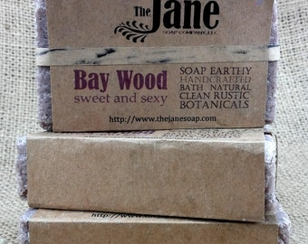 Bay Wood Sea Salt Soap - Bay and Cedarwood Essential Oil Sea Salt Soap - Rustic Hot Process Soap