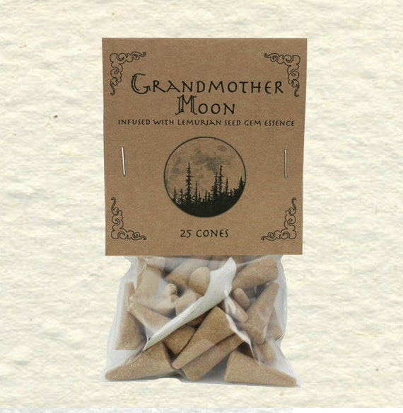 Grandmother Moon Blend Incense Cones with Lemurian Seed Gem Essence, Sage, Jasmine, Sandalwood and Coriander Seed