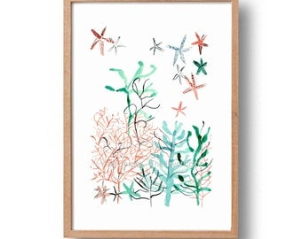 Sea garden art print,  watercolor print sea garden,  abstract corals, sea kelp and sea star, Turquoise, coral, coastal style art, modern art