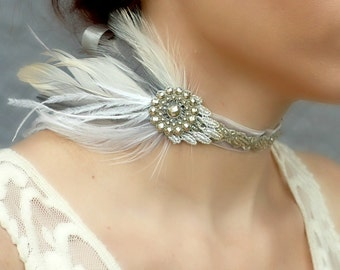 Victorian Velvet Feather Choker - Silver Grey Ivory - Jeweled Peacock Collar or Headpiece - Wedding Prom Formal Costume