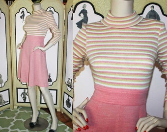 Vintage 70's Pink and White Striped Sweater Dress. Medium.