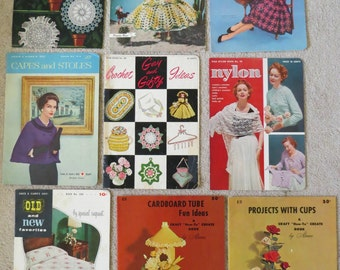 9 Vintage Crochet Embroidery Knitting Craft Books