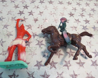 Made in the USA Vintage Plastic Cowboy, Horse and Indian
