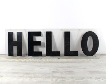 HELLO - Vintage Acrylic Marquee - 8 Inch Clear Plastic Letters