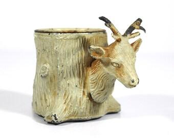 Antique Heyde Metal Deer / Tree Stump - Inkwell - Candle Holder - Georg Heyde & Company