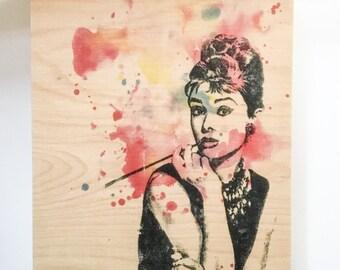 Wood Wall Art Panel Audrey Hepburn Art Print from Watercolor Painting on Wood Breakfast at Tiffany's Print On Wood Pop Art on Wood Wall Art