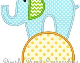 Elephant on Ball Machine Embroidery Applique Design