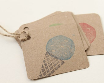 ICE CREAM favour tags, gift tags, thank you tags, ice cream favour bag tags X 10