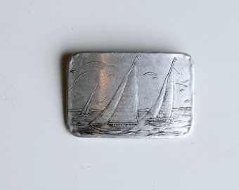 1940s aluminum Wendell August sailboat brooch / 40s vintage hand hammered forged metal artisan made boat pin