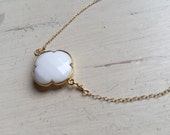 Clover Necklace - White Agate Bezel