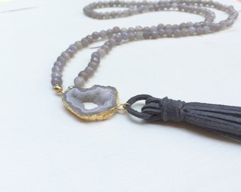 Tassel Necklace with Gold-Dipped Geo Slice, Grey Agate Beads and Grey Suede Tassel