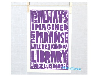 Library Quote for Readers, Bibliophile, Librarian Gift, Book Lovers Gift