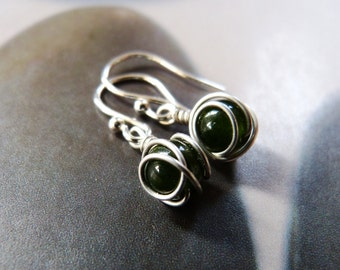 Jade silver earrings, dark green jade, dangle earrings, natural jewelry, gift for her, gift for wife, birthday gift, everyday wear, fashion