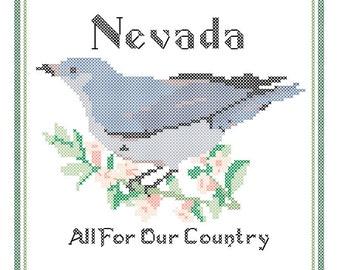 Nevada State Bird, Flower and Motto Cross Stitch Pattern PDF