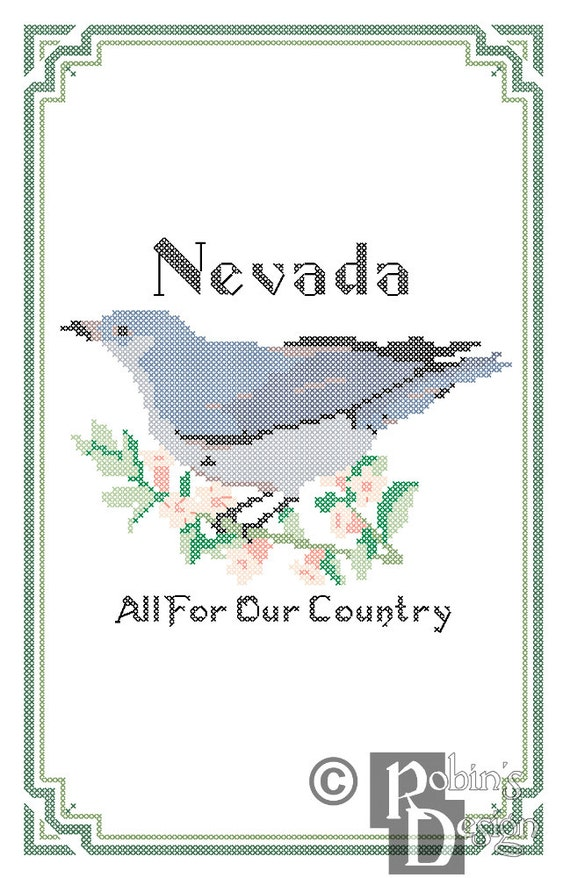 Nevada State Bird, Flower and Motto Cross Stitch Pattern PDF