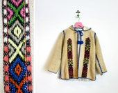 Vintage 1960s-70s Heavy Wool Hooded Jacket Hand Made in Greece Size M-L