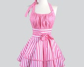 Flirty Chic Apron / Pink Stripes and Polka Dot Retro Style Pinup Kitchen Cooking Apron