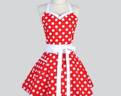 Sweetheart Retro Apron - Womens Flirty Pinup Style Christmas Red and White Polka Dot Cooking or Holiday Hostess Apron Ideal to Personalize