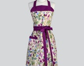 Full Bib Womens Aprons - Cute Retro Kitchen Cooking Womans Apron in Vintage Painterly Eggplant Floral Chef Hostess Apron Personalize