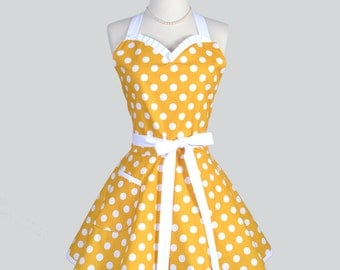 Sweetheart Retro Apron - Womens Pinup Style Yellow and White Polka Dot Add Personalized Monogram Embroidery for Bridesmaids or Gifts for Her