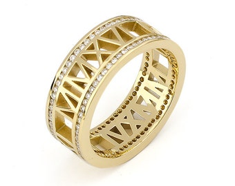 Roman Numeral Ring Rimmed in Diamonds in 10K Gold, 8mm