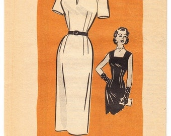Vintage 1957 Anne Adams 4605 UNCUT Sewing Pattern Women's, Misses' One-Piece Dress Size 12 Bust 30