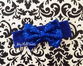 Head wrap, Blue Headband,Baby Girl Headband, Gold sequins Bow, Fabric Headband, turban, sparkly bow ,newborn headband,head wrap, sequins bow
