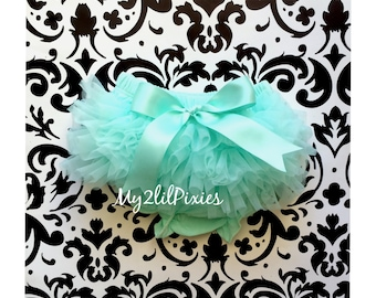 Mint ruffle bum BABY BLOOMER with Satin bow, diaper cover, ruffle bloomer, Newborn bloomer, Cake Smash, Easter Bloomer, photo prop