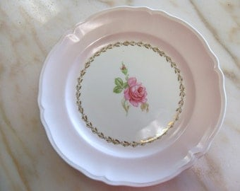 """Vintage Pink Rose Edwin M. Knowles China 9"""" Scalloped Salad Luncheon Plates"""