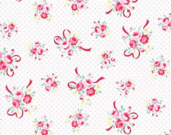 Flower Sugar Fall 2016 Sweet Carnival Collection Cotton Fabric by Lecien 31378-20 White/pink Rose Bouquet On Dot