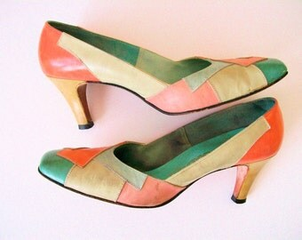 Patchwork Leather Pumps // Vintage Multicolored Pastel Heels // Women's Size 7.5 AA Narrow